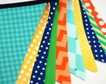 Monster Birthday Bash Party Decoration, in Aqua, Green, Orange, Yellow, Navy Banner Bunting, Photo Prop, Baby Shower - cloth, fabric flags