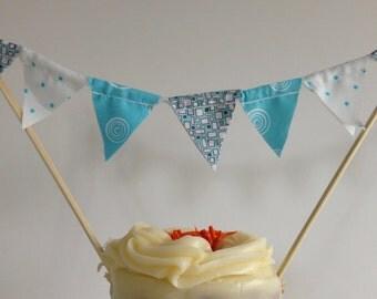 BLUE BOY BANNER--Blue Fabric Cake Banner Garland--Baby Shower Flags--Smash Cake--Baby Boy Shower First Birthday--Birthday Cake Topper