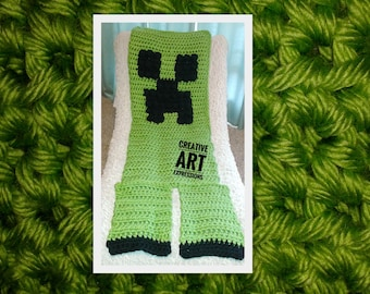 MOB Gamer Blanket, Child Blanket Thick, Crocheted MOB Blanket, Lime Green, Gamer Blanket, Ready To Ship, Boy Gifts, Wearable Blanket