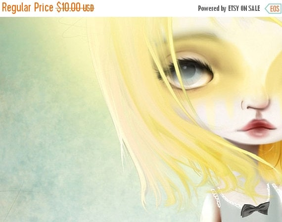 "CHRISTMAS SALE 5x7 Fine Art Print - ""Golden Days"" - Giclee Print of a Light Sunny Haired Girl - Artwork by Jessica Grundy"