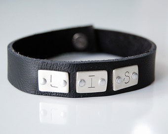 Modern Leather Cuff Initial Bracelet- Men's Leather Bracelet with Custom Initials