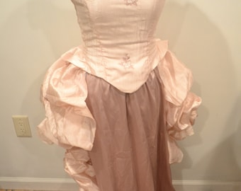 Victorian, Pink Rose Gown, Costume, Theater, Stage, Photo Shoot, Steampunk, Bodice, Bustle, Skirt, Long Train, Handmade, Invisible Zipper