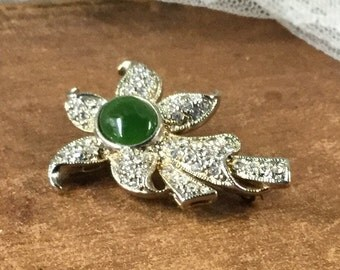 Genuine Jade and Pave Rhinestone Floral Brooch Pin Goldtone Setting Flower Elegant Luxe