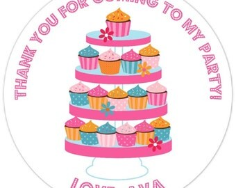Custom Birthday Stickers, Cupcake Tower Birthday Labels, Customized, Personalized for you