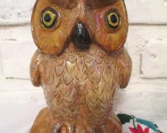 Vintage Hand Carved Owl Statue Wood Carving Folk Art Decoy Wooden Primitive Signed H.A. 1981