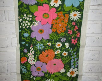 Vintage Floral Tea Towel Signed Monique Linen Dish Cloth Colorful Spring Flowers