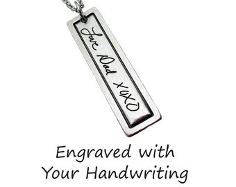 Custom Handwriting Broadway Pendant Necklace with your loved one's actual handwriting, Fine Pewter