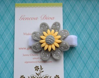 Gray and Yellow Daisy Felt Flower Clip
