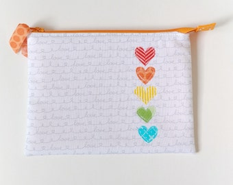 Rainbow heart applique zipper pouch