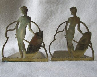Antique Art Deco Brass Lady Bookends Signed Art Brass Co NY
