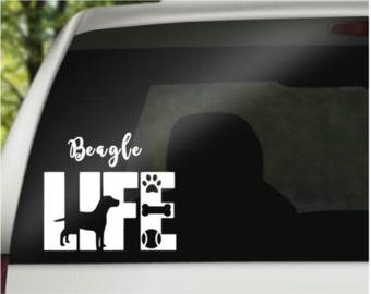 Beagle Decal - Car Decal - Pet Decal - Laptop Decal - Window Decal - Vinyl Decal - Car Window Decal - Life Decal - Beagle Gift
