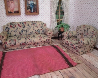 Vintage Miniature Dollhouse Furniture - Upholstered Sofa, Chair and Rug - One Inch Scale
