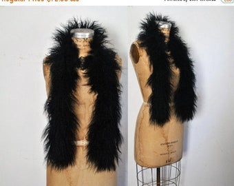 25% OFF Black Tibetan Fur Scarf / Mongolian Lamb Collar