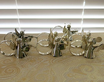 7 Angel Napkins Rings Silver Plated Vintage 1980s Vintage Christmas Table Decor
