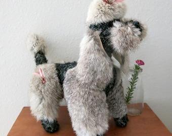 Poodle Figure With Real Fur and Faux Persian Lamb From Metroplitan Fur Toy Company Vintage 1970s 80s