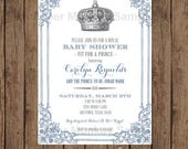 SALE Custom Printed Royal Prince Baby Shower Invitations  - 1.00 each with envelope