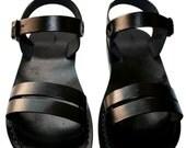 CLEARANCE SALE - Black Hammer Leather Sandals for Men & Women - EURO # 36 - Handmade Unisex Sandals, Genuine Leather Sandals, Sale