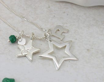 Star Necklace - Sterling Silver Necklace - May Birthstone Necklace - Personalised Necklace - Best Friend Gift - Personalised Gift or Her