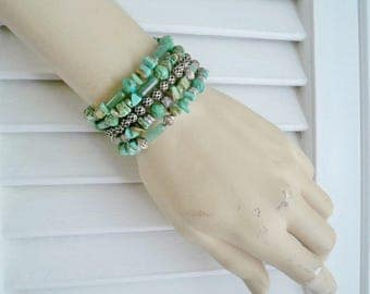 One Wrap Bracelet - Turquoise and Silver - Boho chic - Beaded Assemblage - Bohemian style cuff - One of a Kind - bycat