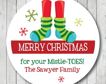 For Your Mistle-Toes, Christmas Socks Stickers, Christmas Socks Tags, Christmas Labels, Personalized Christmas Stickers, Holiday Stickers