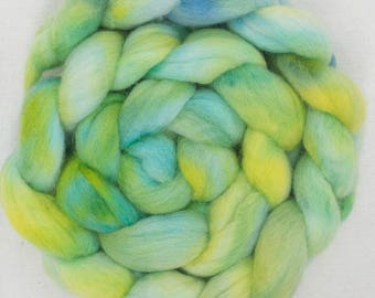 Hand dyed Polwarth, Hand dyed roving, 100g, Polwarth, Hand Painted tops, roving, fiber, Hand dyed spinning wool, Sap