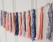 CLEARANCE - Yarn Tassel Garland No. 7 in Peach, Blue, and Grey - Tassel Decor - Wall Hanging - Photo Prop - Nursery Decor - Ready to Ship
