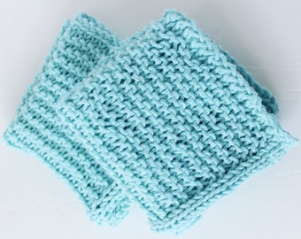 Cotton Wash Cloths in Light Blue - Dish Cloth - Spa Gift - Hostess Gift - Housewarming Gift - Baby Gift - 2 pack - Ready to Ship