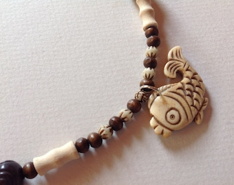 Fish wood and bone necklace
