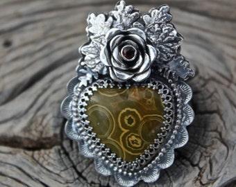 Ocean Jasper Sacred Heart Ring
