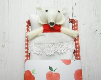 Fox plush fox stuffed animal wool felt miniature white miniature animal matchbox doll stocking stuffer gift under 25