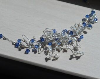 Silver Necklace Sakura Sapphire - Sterling Silver
