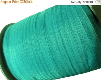 """ON SALE Turquoise Organza Ribbon 1/4"""" for gift packaging or crafting - 10 yards (30 feets)"""