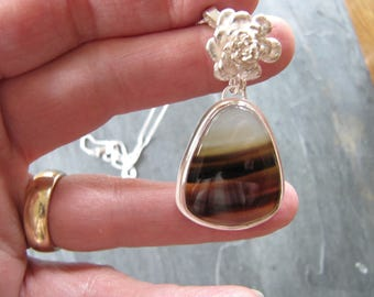 Montana Agate Pendant with Cast Sedum in Sterling Silver