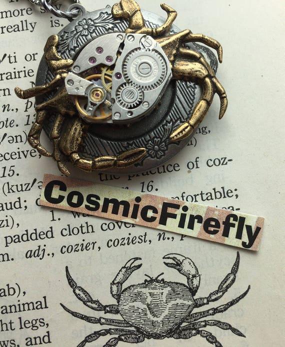 Steampunk Crab Locket Necklace Gold Brass Crab Necklace Nautical Steampunk Necklace Vintage Watch Movement Gothic Victorian Woman's Locket