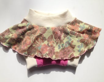 Wool Diaper Cover -  Recycled Floral and Pink Lambswool and Interlock Wool Diaper Soaker Skirtie - Medium
