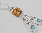 Reserve for Patrice-BE FREE-Handmade Sterling Silver and Swarovski crystal Earrings
