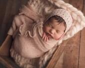 Rosewater Newborn Bonnet, hand knit newborn bonnet, photo prop photography prop, soft handknit pale light pink blush rose, baby girl