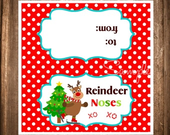 Reindeer Noses Bag toppers, Instant Download Treat Bag Topper, Printable Reindeer Bag Topper,DIY, Gifts for Neighbors, Family or School