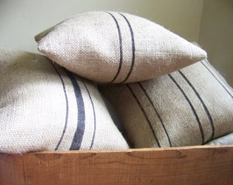 free shipping -burlap striped pillows - grain sack - feed sack - farm house - jute - pillow - set of 3 - black stripe - striped - cushion -
