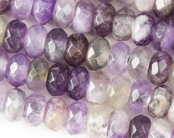 Faceted Large Hole Amethyst 6x10mm Rondelle with a 2.5mm Drilled Hole