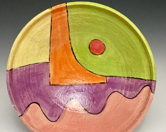Serving Bowl; Brightly Colored Cut-Outs; Modern Tropical Design; Functional Fine Art; Island Style