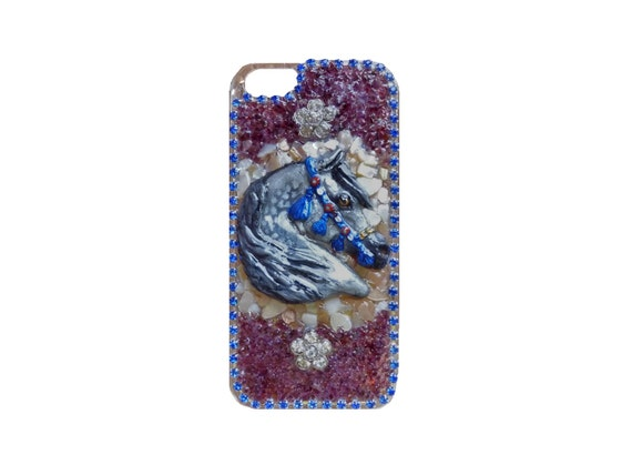 Iphone 5 Arabian Horse, Mother of Pearl, Genuine Garnet and Rhinestone Cell Phone Case