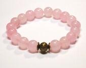 Boho Bracelet Gemstone Stretch Bracelet Light Pink Quartz Stack Trendy Layering Fashion Gemstone Bracelet