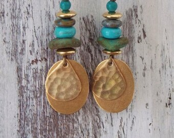 Sale Brass Earrings Czech Glass Earrings Boho Bohemian Drop Earrings Copper Dangle Green Turquoise Rustic Woodland Gold Brass Earrings