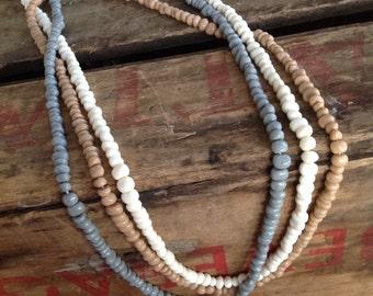 VINTAGE 3 strand BEAD NECKLACE - vintage necklace- vintage beads- cool old piece