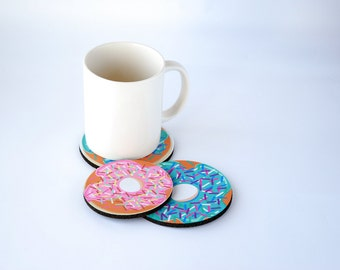 Donut Custom Coaster Set, Foodie Gifts for Foodies, Drink Coasters for Drinks, Funny Birthday Gift, Office Gift, Party Favors Valentines