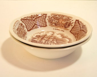 Alfred Meakin Brown Fair Winds Dessert or Berry Bowls, Set of Two