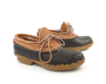 Duck Rubber Boots Shoes Vintage 1990s  LL Bean Leather women's size 5