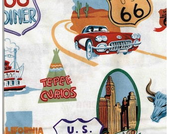 1.2 Yards of Route 66 Fabric 100% Cotton Fabric for Sewing Crafts Yd Material Alexander Henry Fabrics Collection 2002