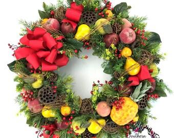 XL Williamsburg Wreath, Winter Fruit Wreath, Winter Door Wreath, Winter Door Decor, Front Door Wreaths, Flocked Wreath, Snow Wreath